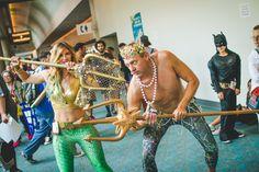 Comic Con 2014 Aquaman and Poseiden #ComicCon #aquaman #sdcc2014 #aquawoman #cosplay Girl Version of Aquaman