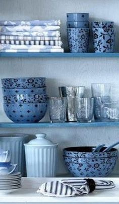 cupboard of blue dishes