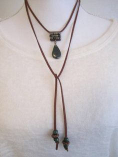 Hunter Green Choker and Necklace Wrap, Jasper Pendant, Beaded Artisan Bail, Brown Faux Suede, Antique Crow beads, Long two strand necklace by bohosoulsister on Etsy