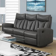 Monarch Specialties I 87GY-3 Reclining Sofa in Charcoal Grey Bonded Leather