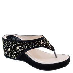 60a8bdf29925 Brieten Womens Rhinestone Studded Thong Flip Flop Wedge Sandals 7 Black --  Visit the image