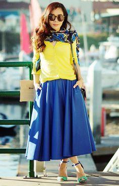 12.13 happy new year (GAP cardigan + Lublu printed scarf + ASOS blue full skirt + Zara sandals + Reiss embossed croc shoulder bag + Karen Walker sunnies)