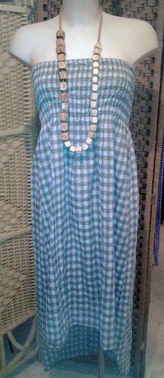 collana in legno collezione p/e 2014 abito lungo in cotone collezione p/e 2014