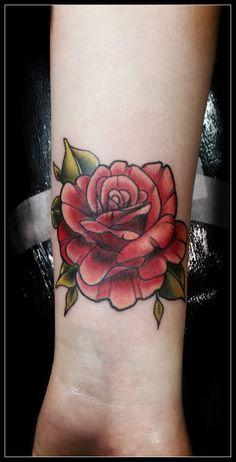 Neo-traditional rose cover-up by Jolene Sherrard at Adorned Tattoo, Dorset UK.https://www.facebook.com/adornedtattoo