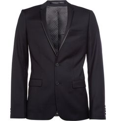 siiickest suit jacket!! SandroEllipse Satin-Trimmed Wool-Twill Jacket