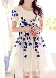 Delicate blue branches on white. An uber-feminine, classic, modest and artistic choice for a bridesmaid's dress