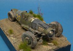 Scale model dieselpunk racer vehicle. Titled: Glühkäfer by Brian Krueger. Pinned by #relicmodels