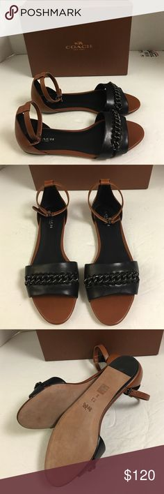 Coach NY Seabreeze leather ankle strap sandal This is a chic sandal with metallic chain woven onto the leather strap. Slender ankle strap with adjustable buckle.  Leather upper lining and sole New with box. Coach Shoes Sandals