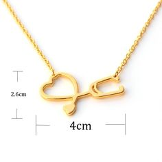 New Medical Jewelry Never Fade I Love You Heart Pendant Necklace Stethoscope Necklace for Nurse Doctor Gift