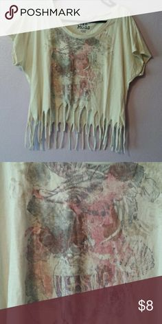 Fringe crop top Super soft light grey/creamish crop with cool painterly design on the front. Worn a few times Mudd Tops