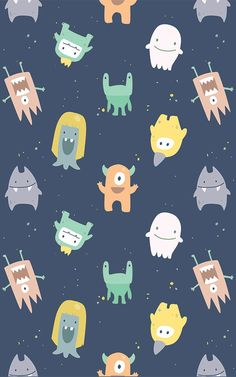Little Monsters Wallpaper Mural Phone Screen Wallpaper, Iphone Background Wallpaper, Wallpaper Iphone Disney, Kids Wallpaper, Kawaii Wallpaper, Pastel Wallpaper, Galaxy Wallpaper, Impression Textile, Whatsapp Wallpaper