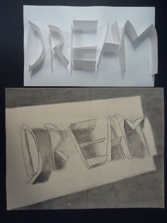 Shadow Words - what a cool drawing/light study for kids. How simple and a great way to practice value. Drawing Projects, Drawing Lessons, Art Lessons, High School Art, Middle School Art, Classe D'art, 8th Grade Art, Light Study, Shadow Art