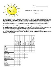Thanksgiving logic puzzles and venn diagram math activities this logic puzzles involves four friends each involved in a different summer activity softball ccuart Choice Image