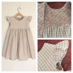 "I made a dress with mixed linen gingham check size 3years old. The lining is Liberty print fabric ""Betsy Ann""  C&Sのリネン混ギンガムの生地で切替のワンピを100cmで作りました。 裏地もC&S限定カラーのリバティ「ベッツィアン」を使いました。 ."