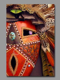 Dave Sisk Gourd Mask - Bright Eyes Decorative Gourds, Hand Painted Gourds, Ceramic Mask, Cardboard Box Crafts, Art Rules, African Crafts, 4th Grade Art, Native American Artists, Feather Art