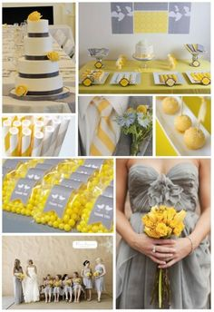 red and grey wedding | table settings wedding curly spanish hairstyles vinta: Yellow and Grey ...