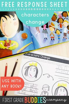 Grab this FREE Characters Change Response Sheet to pair with ANY BOOK!  Great for whole group lessons, small group lessons, or to put out in a literacy center!  Just right for a primary grade classroom!