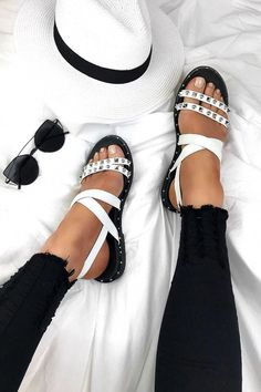 Our adele sandals Studded Sandals, White Sandals, Leather Sandals, Fashion Slippers, Fashion Shoes, Cute Shoes, Me Too Shoes, Brooks Running Shoes, Pretty Sandals