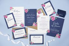 Navy and pink vintage rose wedding stationery by Project Pretty Floral Wedding Stationery, Luxury Wedding Invitations, Vintage Roses, Vintage Pink, Design Suites, Rose Wedding, Paper Goods, Navy, Pretty