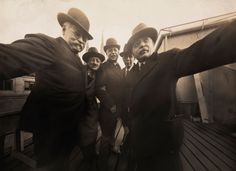 "Evolution of the selfie. In 1920, Joseph Byron (L), a New York photographer, shot what can be termed as the first group selfie or ""groupfie."" Byron clicked this image with a group of friends at the rooftop of a photo studio"
