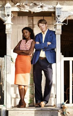 Death in Paradise - Sara Martins as Camille Bordey and Kris Marshall as DI Humphrey Goodman Sara Martins, Death In Paradise, Tv Detectives, Uk Tv, Old Shows, Great Tv Shows, Favorite Tv Shows, Movies And Tv Shows, Actors & Actresses