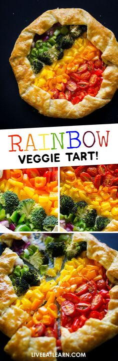 Getting your serving of veggies is easy with this Rainbow Vegetable Tart. Tasty roasted veggies atop a ricotta parmesan base, wrapped in flaky puff pastry. A that's easy to make and full of flavor! Best Vegetarian Recipes, Healthy Recipes, Vegetarian Entrees, Side Dish Recipes, Dinner Recipes, Dinner Ideas, Vegetable Tart, Vegetable Recipes, Rainbow Live