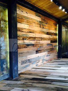 Chicureo Design. Revestimiento Plankwood. Revestimiento de tablones de durmientes interiores. Dimensión: 25 mm x 200 mm x ML www.chicureodesign.cl