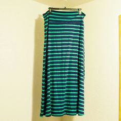 Striped Maxi Skirt Navy Blue & Green Striped Maxi Skirt, worn once Mossimo Supply Co Skirts Maxi