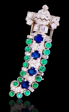 An Art deco diamond, emerald and sapphire brooch, Charlton, circa 1925