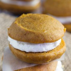 Pumpkin Whoopie Pies - Amish whoopie pies perfect for fall treats. These sandwich cookies make a soft cookie filled with a sweet fluffy filling.