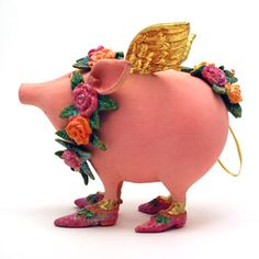 Flying Pig Ornament by Patience Brewster