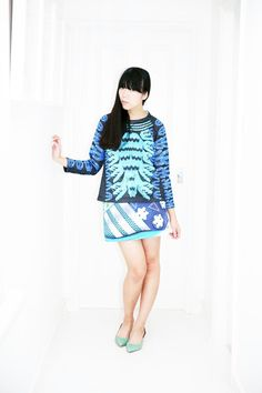 Susie Bubble wearing adidas Originals x Mary Katrantzou mesh top and skirt worn with Dries van Noten shoes