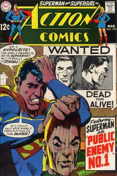 Action Comics 374 cover by Neal Adams Old Superman, Superman Action Comics, Superman Comic Books, Dc Comic Books, Comic Book Artists, Comic Book Covers, Superman Family, Batman, Marvel Comics