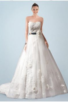 Ethereal Strapless Princess Wedding Gown Featuring Lace Applique and Floral Detail