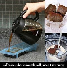 Coffee Ice Cubes for iced coffee.now that's one smart idea. (I've used the coffee ice cubes to flavor vanilla smoothies and protein shakes. Iced Coffee, Coffee Drinks, Coffee Shop, Coffee Lovers, Hot Coffee, Coffee Creamer, Iced Cappuccino, Easy Coffee, Iced Latte