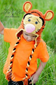 Handmade Crochet Safari Tiger Hat