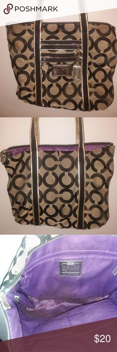 Purple lined Coach Poppy bag Lovingly used but still in good shape. Does have a few picks and wear on the handles but from a smoke free home. Coach Bags Shoulder Bags