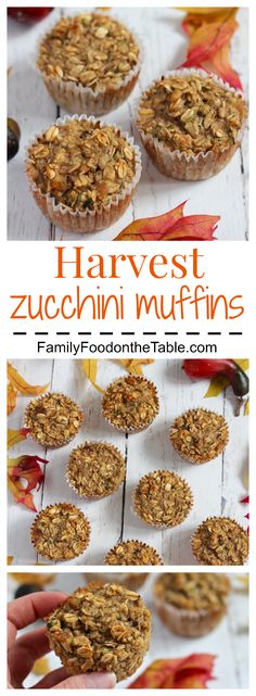 Harvest zucchini muffins are packed with wholesome goodness! And they're gluten-free. | FamilyFoodontheTable.com
