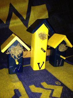 WVUWest Virginia University 3 Little Bird Houses by TNTDynomiteWV, $19.99