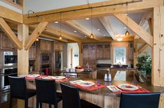 SummitView Southern Yellow Pine Timber Frame Home – Breckenridge, CO - Woodhouse The Timber Frame Company Wide Plank Flooring, Engineered Hardwood Flooring, Pine Timber, Pine Kitchen, Installing Hardwood Floors, Real Wood Floors, Colorado Homes, Timber Frame Homes, Mountain Homes