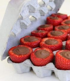 Gluten Free Inside out Chocolate filled strawberries! Set them up in an egg carton. (a NEW NEVER USED PAPER egg carton or a clean plastic one) while the chocolate dries. By doing it this way you dont have to worry about the chocolate cracking off the outside when you bite into it! #gf Your choice of chocolate just make sure it is gluten free.