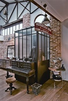 Industrial chic office on pinterest pipes plumbing pipe and design studios - Decoration loft industriel ...