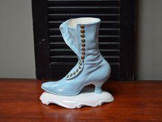 ✿ bluefolkhome on etsy ✿ Ceramic Victorian Shoe Victorian Boot Shaped Vase Boot Blue Victorian Buttoned Shoe Shaped Vase I Ship Globally