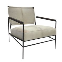 "Anders Chair - Iron Base Frame w/Wood Arms  25.75""W X 31.25""D X 30""H Arm: 21.5""H Seat: 16.25""H"