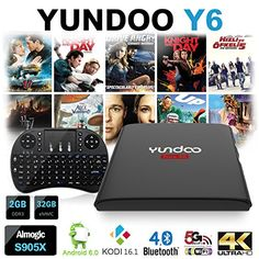 YUNDOO Y6-Android 6.0 TV Box Amlogic S905X Quad core [2GB DDR3/32GB eMMC/BT4.0/WiFi 2.4G 5G/4K] HDMI 2.0 Streaming Media Player Preloaded KODI 16.1 With Free i8 Airmouse