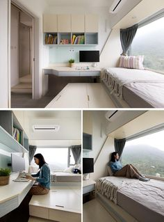 A Small Apartment In Hong Kong Makes Smart Use Of Its 492 Square Feet Sim-Plex Design Studio / moderne und kleine Wohnung in Hong Kong Small Apartment Storage, Small Apartment Bedrooms, Small Apartment Decorating, Small Apartments, Small Spaces, Interior Decorating, Small Bedroom Interior, Condo Interior, Home Bedroom