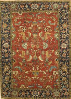 Pasargad Serapi Heriz Hand-Knotted Blue/Red Area Rug & Reviews | Wayfair