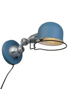 Industriële wandlamp Bronq Jikke blauw