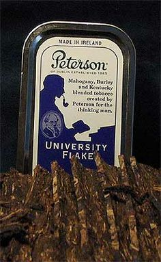 Peterson of Dublin's University Flake pipe tobacco: Mahogany, Burley and Kentucky blended tobacco created by Peterson for the thinking man.