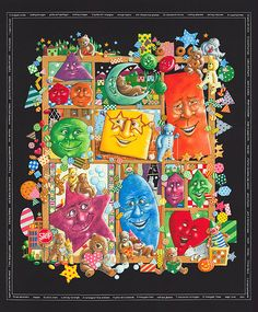 """Shadowbox Hunt - Shapes & Colors - 36"""" x 44"""" PANEL- Quilt Fabrics from www.eQuilter.com"""